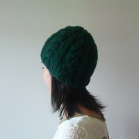 Hand Knitted Chunky Cable Beanie in Dark Green - Seamless Hat - Wool Blend - Winter Fall Hat