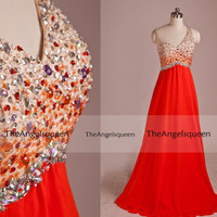 Sweetheart Red A-line Criss Cross Train Beading One Shoulder Long Evening Gowns,Bridesmaid dresses,evening dresses,party dress,senior dress