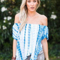 Blue Lagoon Open Shoulder Top