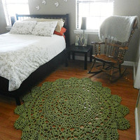 Sage Green Cotton Doily Crocheted Lace Rug- Area Rug- Christmas Gift- Holiday Decor- Living Room Rug- Bedroom Rug- Crochet Rug- Round Rug