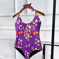 Gucci Print One Piece Bathing Suits Swimsuit Leopard  With Black V Neck Bikini Purple Hang Neck Swim