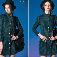 Plaid Button Up Dress in Green or Blue