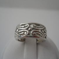 Sterling Silver 925 Filigree Scroll Designs Eternity Ring Size 6.5 Unmarked