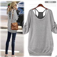 Crossed back shirt with inner tank top [252]