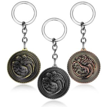 Vintage Retro Jewelry Game Of Throne Dragon Keychain Men Key Chain Key ring Car Chaveiro Car Key Holder For Male Christmas Gift