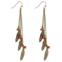 Feather and Bead Linear Earring