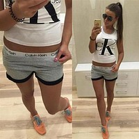 Fashion Letter Vest Tank Top Shirt Tee Shorts Set Two-Piece