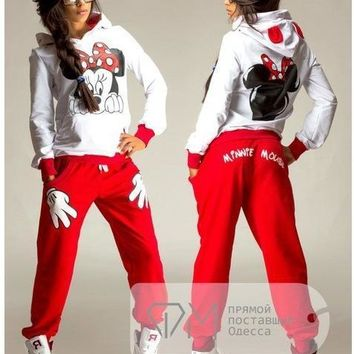 1+1 New 2017 autumn women ladies long sleeve Mickey Print Sweatshirts Set pullover cute casual Suit Tracksuits hoodie clothing