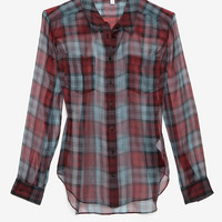 Elizabeth and James Sheer Organza Plaid Pattern Blouse-All Tops-Tops-Clothing-Categories- IntermixOnline.com