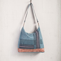 MONA B RECYCLED CANVAS SKY CHARCOAL BLUE SHOULDER BAGS
