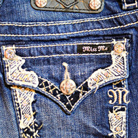 MISS ME PATCH BORDER BOOTCUT JEANS