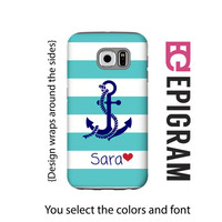 Aqua stripes personalized Samsung Galaxy S6 case, anchor Galaxy S6 case, bold stripes Galaxy S5 case, Samsung Galaxy tough case