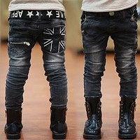 Kids Jeans Spring and Autumn Boy Casual Slim Black Jeans Boys Trousers