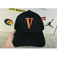 VLONE men and women cap V-embroidered street baseball cap F-Great Me Store Black