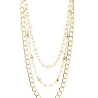 Gold Layered Pearl & Chain Necklace by Charlotte Russe