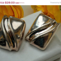 Vintage Sterling Silver Large Hallow rectangle earrings