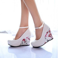 Ankle Strap High Wedges Platform Summer Pumps Casual Dress Elegant Flower Print Wedges Platform Shoes = 1945987588