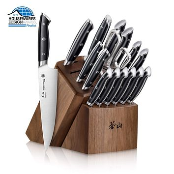 Cangshan Z Series 1024180 German Steel Forged 17-Piece Knife Block Set, Walnut 17-Piece Block Set, Black