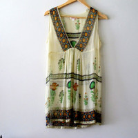 Vintage See Through Tunic Gypsy Bohemian Festival Tribal Sheer