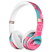 Hot Pink Letters With Teal Green Leaves Full-Body Skin Kit for the Beats by Dre Solo 3 Wireless Headphones