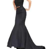 Fanmu Halter Beading Two Piece Mermaid Prom Dresses Formal Evening Gowns Black US 2