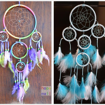 "Dream Catcher with feathers Multicolor&Blue&Red 3colors for choice length 21"" wall hanging decor home car decoration ornament Hand Carfts = 1946496516"