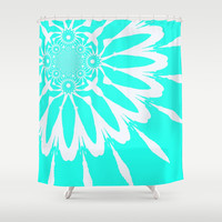 Turquoise & White Modern Flower Shower Curtain by 2sweet4words Designs | Society6