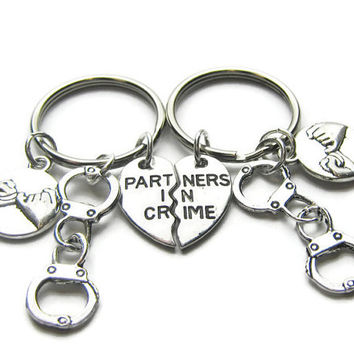 2 Partners In Crime Handcuff Pinky Promise Keychains,Best Friends Keychains,Sisters Keychains,Couples Keychains, Partners In Crime Keychains