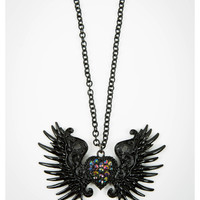 Black Wing Heart Necklace