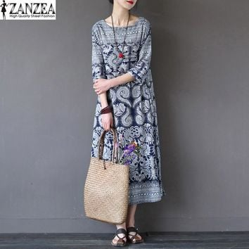 Womens O-Neck Half Sleeve Summer Floral Pockets Casual Loose Long Dress