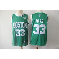 Boston Celtics 33 Larry Bird Swingman Jersey With Sponsor Logo