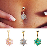 Dangle Navel Body Jewelry Piercings Tassel Flower Cubic Zirconia Belly Button Ring Navel Bar Barbell Body Piercing Jewelry  SM6