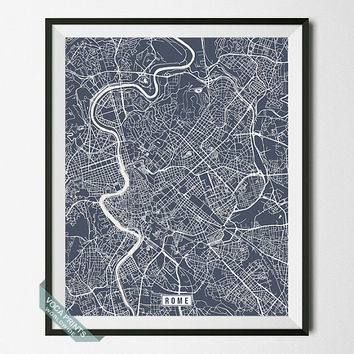 Rome Print, Italy Poster, Rome Poster, Rome Map, Italy Print, Street Map, Italy Map, Map Print, Home Decor, Wall Art