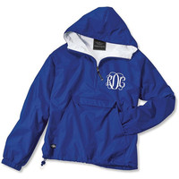 Royal Blue Monogrammed Personalized Half Zip Rain Jacket Pullover by Charles River Apparel