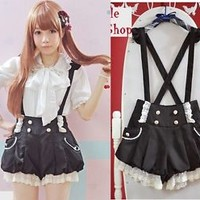 Girls Trendy Sweet Cute Kawaii classical Punk Gothic Lace Strap shorts Black