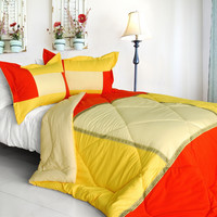 Summer Sunrise Quilted Patchwork Down Alternative Comforter Set in Twin Size