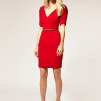 Red Cocktail Dress - Bqueen Sculpted Glamourous Dress K028R | UsTrendy