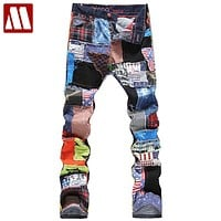 jeans Male fashion slim colored patch buttons fly straight pants