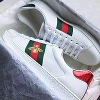 Gucci Shoes Flat Classic Breathable White Print Shoes Sneaker Bee