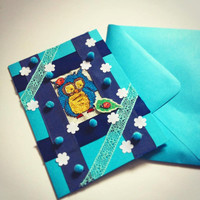baby boy card blue cards owl card baby card greeting cards birthday card gift card boyfriend card