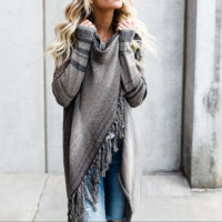 Loose Long Sleeve Striped Cardigan Sweater Coat