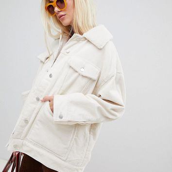 Weekday cord teddy jacket in off white at asos.com