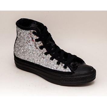 Silver Sequin on Black High Top Sneakers