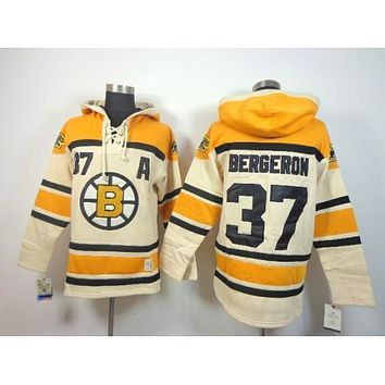 Men's Boston Bruins #37 bergeron beige Hoodies Jersey Ice Hockey Jerseys