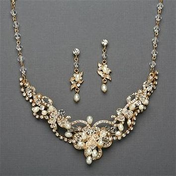 Vintage 14K Yellow Gold Freshwater Pearl & CZ Necklace & Earring Set