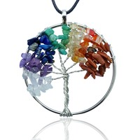 Tree Of Life 7 Chakra Gemstone Necklace With Crystals - Extra Large Pendant with Black Cord