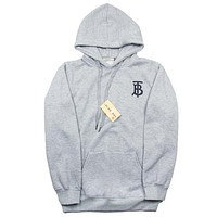 Balenciaga autumn and winter trend embroidery letter hooded loose hoodie grey