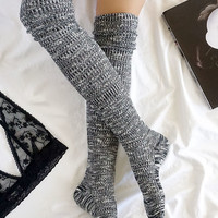 Cozy Grove Black and Ivory Over the Knee Socks