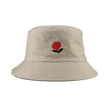 Embroidered Rose Bucket Hat