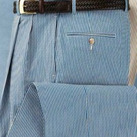 Stays Cool Cotton Blue Pleated-Front Cuffed Bottom Seersucker Pants